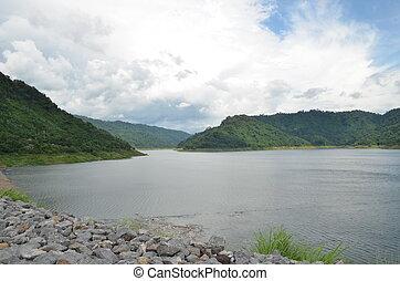 Backside of Khun Dan Prakan Chon Dam, Nakhon Nayok, Thailand