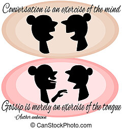 Conversation illustrated of two ladies talking and gossiping...