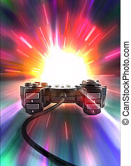 playng - one joypad on colored background