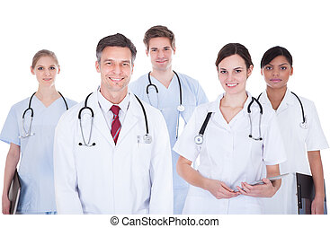Doctors And Nurses With Stethoscope - Happy Group Of Doctors...