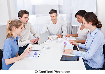 Businesspeople In Meeting - Happy Group Of Businesspeople In...