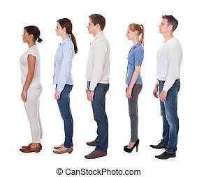 Group Of People In Queue - Group Of People Standing In Queue...