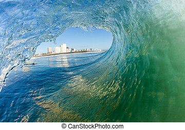 Surf City Durban Wave perspective - Surf City in Durban from...