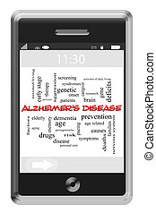 Alzheimer's Disease Word Cloud Concept on Touchscreen Phone