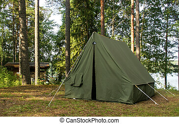 Oldschool soviet tent in forest - Good oldschool soviet tent...