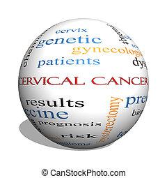 cervical, câncer, 3D, esfera, palavra, nuvem, conceito