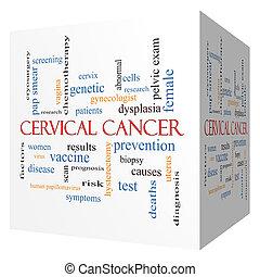 cervical, câncer, 3D, cubo, palavra, nuvem, conceito