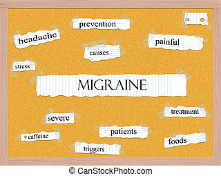 Migraine Corkboard Word Concept with great terms such as...