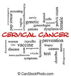 cervical, câncer, palavra, nuvem, conceito, vermelho,...