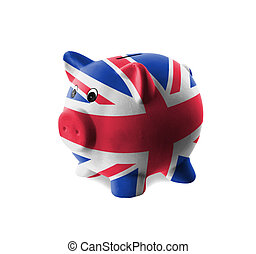 Ceramic piggy bank with painting of national flag - Ceramic...