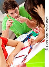 conversación, encima, Libros,  students'