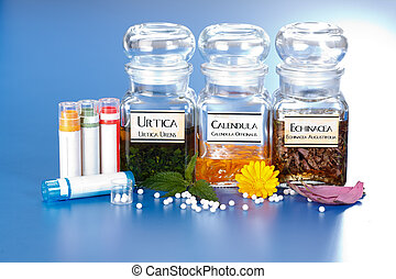 Various plant extract in bottles and homeopathic medication...