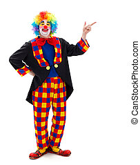 Clown pointing upward - Funny clown pointing and calling...