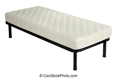 Single divan bed with a mattress on white - Single divan bed...