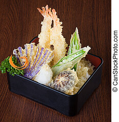 japanese cuisine tempura Deep fried mix vegetable on...