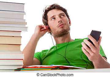 Lazy student chilling - A lazy student chilling with his...