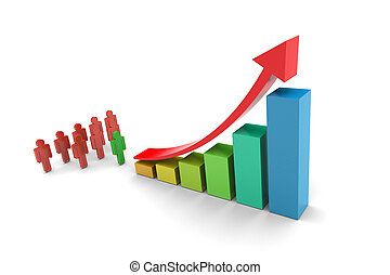 Investors Upward trend barchart 3d illustration on white...