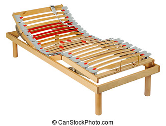 Adjustable motorised bed with a network of movable slats...
