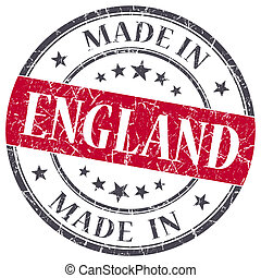made in England red grunge round stamp isolated on white background