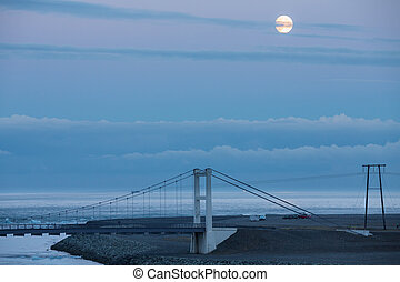 Bridge and full moon