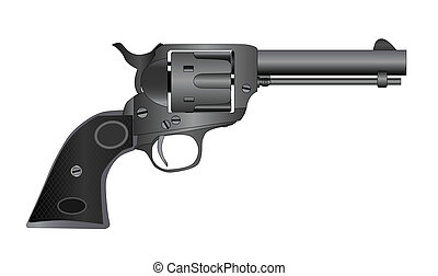 Six Gun - A wild west six gun isolated over a white...