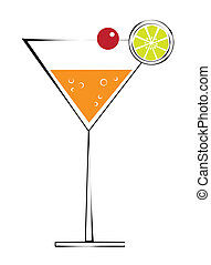 Martini with Cherry - Cute orange martini with lime and...