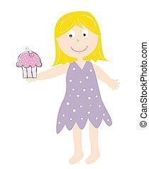 Girl Holding Cupcake