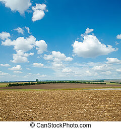 ploughed field and light clouds over it