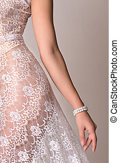 Nude bride with fine lace - Implied nude image of a young...