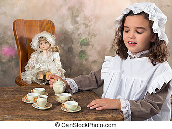 Victorian tea party - Sweet victorian girl posing in the old...