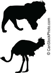 lion and ostrich silhouette vector