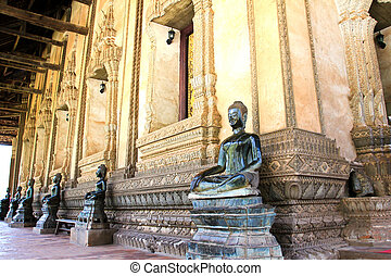 Bronze Buddha statue at the Haw Phra Kaew, Vientiane, Laos