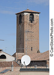 Tower medieval with parabola dish - Tower medieval in...