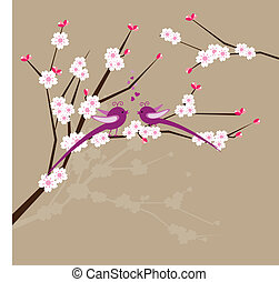 Two birds on a tree branch - Two birds with cherry blossom