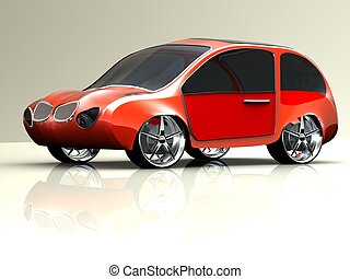 3d rendering of a brandless generic red car of my own design...