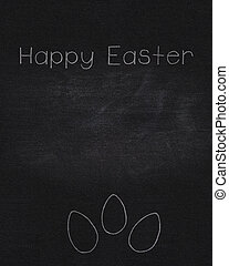 blackboard template for easter with text, with chulk