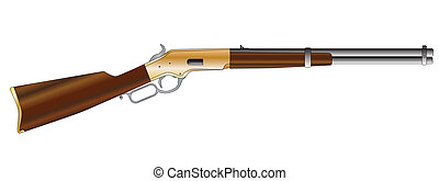 Rifle - A typical wild west rifle isolated on a white...