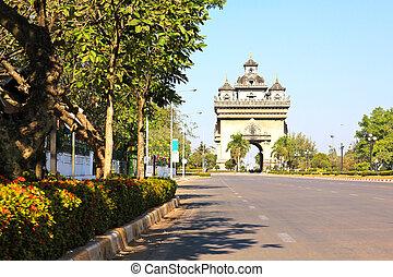 Patuxai monument in Vientiane capital of Laos