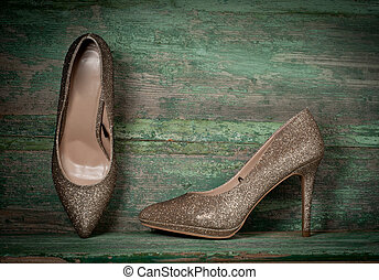 women shoes on wooden background