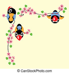 cartoon birds in spring time sitting on the blossom branch