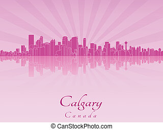 Calgary skyline in purple radiant orchid in editable vector...