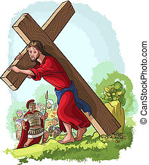 Jesus Christ carrying cross - Via Crucis. Jesus carrying...