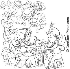 Cute elves. Coloring page - Outlined illustration of two...
