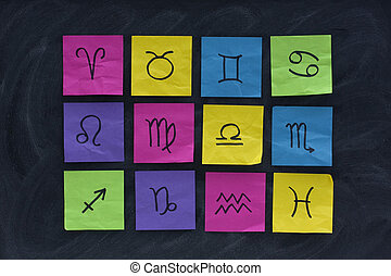 western zodiac symbols on sticky notes and blackboard - 12...