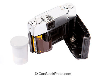 Old Analog Camera And Film Roll - Old retro analog camera...