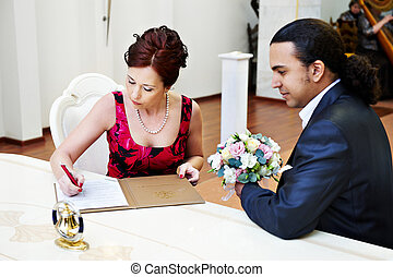 Registration of marriage in the registry office in Moscow...