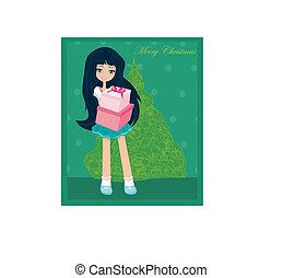 beautiful girl with gift box - Christmas postcard