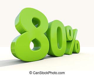 80%, porcentagem, taxa, ícone, branca, fundo