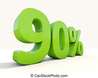 90% percentage rate icon on a white background - Ninety...