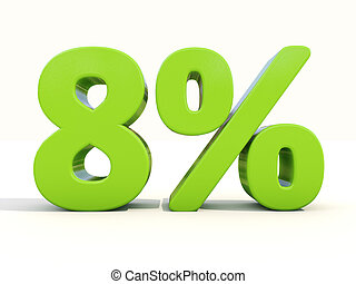 8% percentage rate icon on a white background - Eight...